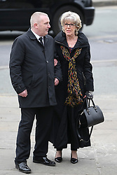 © Licensed to London News Pictures . 18/03/2016 . Manchester , UK . Sue Nicholls arrives at the service. Television stars and members of the public attend the funeral of Coronation Street creator Tony Warren at Manchester Cathedral . Photo credit : Joel Goodman/LNP