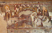 The Annunciation and Nativity scenes :  Mary standing on the left and listening to angel Gabriel (not pictured) and Mary lying next to Joseph on the right, detail of the 12th century frescoes in the choir of the Pre-Romanesque Chapel of Saint Martin de Fenollar (Sant Marti de Fenollar), 9th century, Maureillas Les Illas, Pyrenees Orientales, France. The frescoes are an outstanding piece of work, which greatly impressed modern artists, especially Pablo Picasso and Georges Braque in 1910. Picture by Manuel Cohen