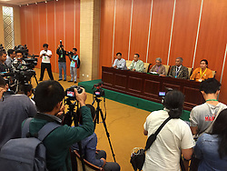 NAY PYI TAW, Sept. 3, 2016 (Xinhua) -- Reporters work at a press conference after the 21st Century Panglong Peace Conference at the Myanmar International Convention Center in Nay Pyi Taw, Myanmar, Sept. 3, 2016. Presentation through paper readings group-wise on the third day of Myanmar's 21st Century Panglong Peace Conference on Friday showed some diversity among participants, U Sai Kyaw Nyunt, member of the Conference Convening Committee, told the press at the end of the day's session in Nay Pyi Taw in the evening. (Xinhua/Wai Yan).****Authorized by ytfs* (Credit Image: © Wai Yan/Xinhua via ZUMA Wire)