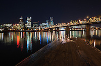 Portland Skyline and Hawthorne Bridge at Night<br /> <br /> Shot in Portland, OR, USA