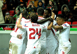 KAZAN, RUSSIA - Thursday, November 5, 2015: Liverpool players surround goal-scorer Jordon Ibe to celebrate after he scores the opening goal against Rubin Kazan during the UEFA Europa League Group Stage Group B match at the Kazan Arena. (Pic by Oleg Nikishin/Propaganda)