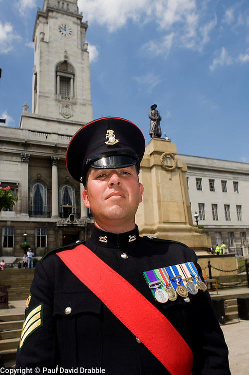 Colour Sgt Leon Egbury Freedom Parade 3rd Battalion The Yorkshire Regiment Barnsley South Yorkshire  22 June 2010 .Images © Paul David Drabble.