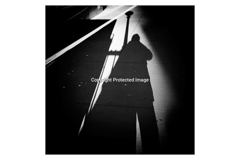 New York. shadows of pedestrians, upside down.