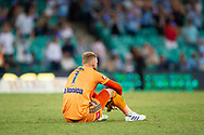 SYDNEY, AUSTRALIA - APRIL 06: Melbourne Victory goalkeeper Matt Acton (1) disappointed after the loss at round 24 of the Hyundai A-League Soccer between Sydney FC and Melbourne Victory on April 06, 2019, at The Sydney Cricket Ground in Sydney, Australia. (Photo by Speed Media/Icon Sportswire)