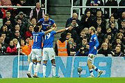 Everton players celebrate Everton's second goal (1-2) scored by Dominic Calvert-Lewin (#9) of Everton during the Premier League match between Newcastle United and Everton at St. James's Park, Newcastle, England on 28 December 2019.