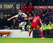 4th September 2017, Hampden Park, Glasgow, Scotland; World Cup Qualification, Group F; Scotland versus Malta; Scotland's Stuart Armstrong  skips past Malta's Bjorn Kristensen