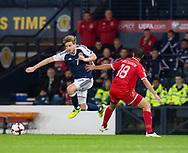4th September 2017, Hampden Park, Glasgow, Scotland; World Cup Qualification, Group F; Scotland versus Malta; Scotland's Stuart Armstrong  skips past Malta's Bjorn Kristensen