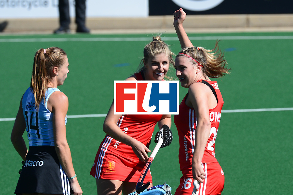 JOHANNESBURG, SOUTH AFRICA - JULY 23: Shona McCallin of England celebrate her goal during day 9 of the FIH Hockey World League Women's Semi Finals 3rd-4th place match between England and Argentina at Wits University on July 23, 2017 in Johannesburg, South Africa. (Photo by Getty Images/Getty Images)