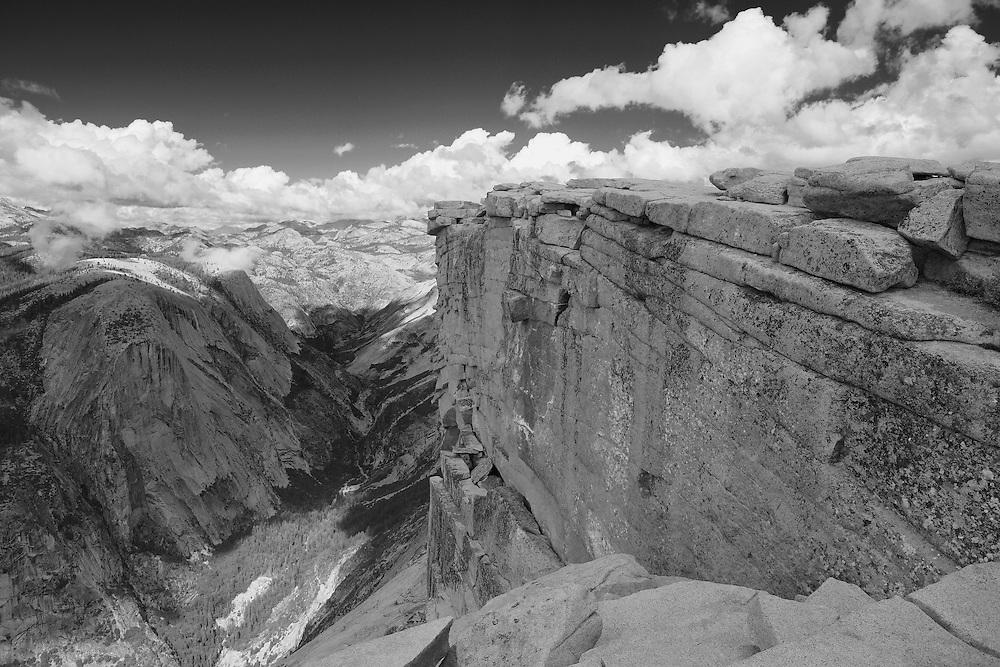 Top Of Half Dome North Overlook Edge - Yosemite - Black & White