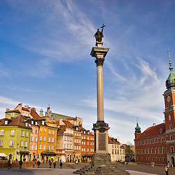 Zygmunt´s column in the Zamkowy square. Warsaw city center. Poland, Europe.