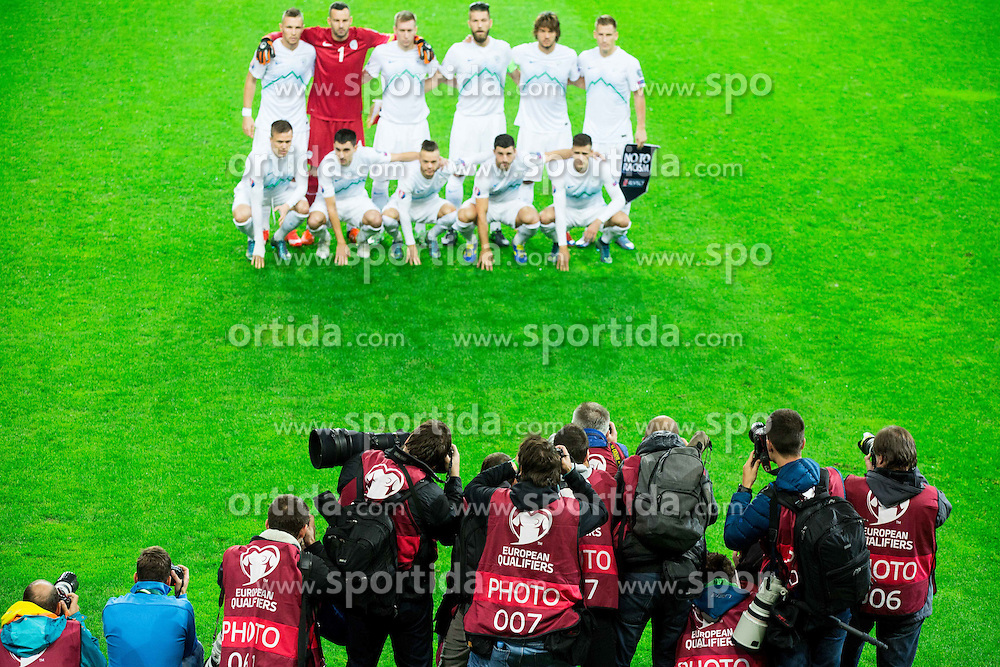 Photographers during the EURO 2016 Qualifier Group E match between Slovenia and Lithuania, on October 9, 2015 in SRC Stozice, Ljubljana Slovenia. Photo by Vid Ponikvar / Sportida