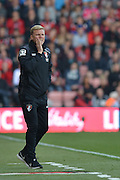 Bournemouth Manager Eddie Howe shouts out instructions during the Barclays Premier League match between Bournemouth and Watford at the Goldsands Stadium, Bournemouth, England on 3 October 2015. Photo by Mark Davies.