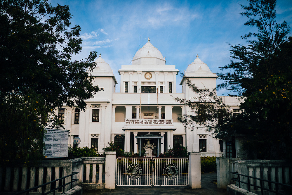Jaffna, Sri Lanka -- February 8, 2018: The historic Jaffna Public Library, which was rebuilt after being destroyed by the long-running civil war.