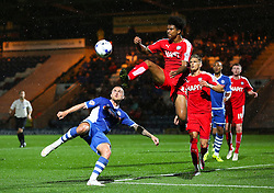 Lewis Alessandra of Rochdale challenges Rai Simons of Chesterfield  - Mandatory byline: Matt McNulty/JMP - 07966 386802 - 06/10/2015 - FOOTBALL - Spotland Stadium - Rochdale, England - Rochdale v Chesterfield - Johnstones Paint Trophy