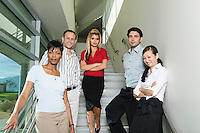 Group of Serious Business People on Stairs Low Angle