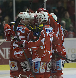 26.12.2013, Stadthalle, Klagenfurt, AUT, EBEL, KAC vs EC VSV, 58. Runde, im Bild Kirk Furey (Kac, #25), Colton Fretter (Kac #17), Tylor Scofield (Kac, #10), Thomas Pöck (KAC, #22)// during the Erste Bank Icehockey League 58th Round match betweeen EC KAC and EC VSV at the City Hall, Klagenfurt, Austria on 2013/12/26. EXPA Pictures © 2013, PhotoCredit: EXPA/ Gert Steinthaler