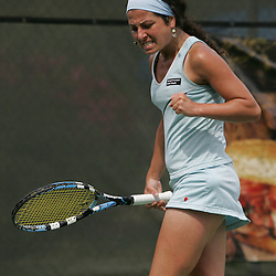 Margalita Chakhnashvili celebrates after scoring a point in the third set of her match against Carly Gullickson during the finals of singles competition at the AT&T $25,000 Challenger USTA Pro Women's Tennis Circuit Tournament played on March 30, 2008 at Oak Knoll Country Club in Hammond, LA. Gullickson defeated Margalita in three sets 6-4, 4-6, 6-4 to win the AT&T 25K Challenger...
