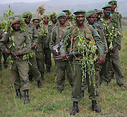 FARDC soldiers pose at the training site in Rwampara , Ituri after a demonstration of their skills. @ Martine Perret. 15 Februray 2007