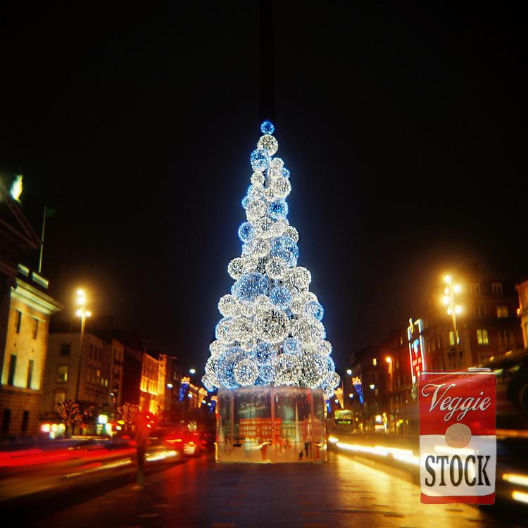 Christmas Tree on O'Connell Street, December 2008, Dublin, Ireland.