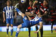 Brighton striker, Tomer Hemed (10) overhead shot during the Sky Bet Championship match between Brighton and Hove Albion and Queens Park Rangers at the American Express Community Stadium, Brighton and Hove, England on 19 April 2016.