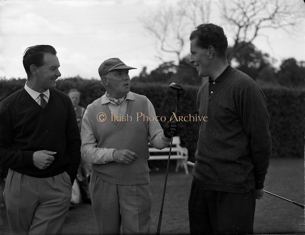 20/07/1962<br /> 07/20/1962<br /> 20 July 1962<br /> Woodbrook Irish Hospitals' Golf Tournament at Woodbrook Golf Course, Dublin. (l-r) B.H. Allen (Denton); W.D. Smithers, (Long Ashton) and G.I. Murdock (Royal Co. Down).