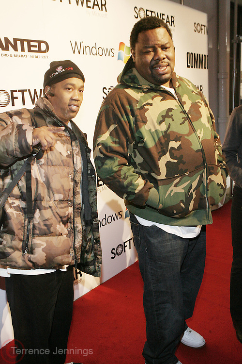 l to r: Cool V and Biz Markie at the Common Celebration Capsule Line Launch with Atmosphere at Softwear by Microsoft at Skylight Studios on December 3, 2008 in New York City..Microsoft celebrates the launch of a limited-edition capsule collection of SOFTWEAR by Microsoft graphic tees designed by Common. The t-shirt  designs. inspired by the 1980's when both Microsoft and and Hip Hop really came of age, include iconography that depicts shared principles of the technology company and the Hip Hop Star.