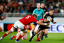 Alun Wyn Jones (capt) of Wales looks to tackle Aaron Smith of New Zealand (All Blacks) during the Bronze Final match between New Zealand and Wales Mandatory by-line: Steve Haag Sports/JMPUK - 01/11/2019 - RUGBY - Tokyo Stadium - Tokyo, Japan - New Zealand v Wales - Bronze Final - Rugby World Cup Japan 2019