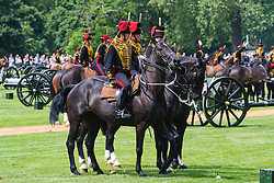 Hyde Park, London, June 10th 2016. As  part of the double celebration of HM The Queen and her Husband HRH Prince Philip, the King's Troop Royal Horse Artillery fire a 41 gun salute in honour of Prince Philip's 95th birthday in London's Hyde Park. PICTURED: The guns prepare to withdraw.