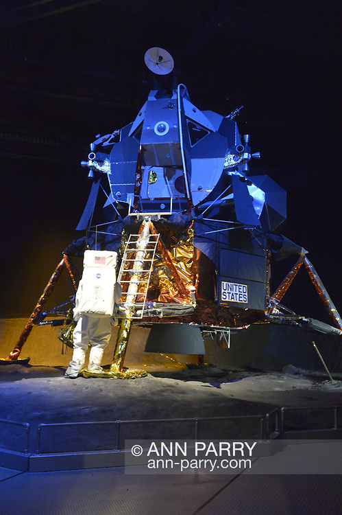 Garden City, New York, USA. June 21, 2018. Original Lunar Module, LM-13 - which was intended for Apollo 18 mission to Copernicus Crater in 1973, that was cancelled - is displayed at Cradle of Aviation Museum in Long Island.