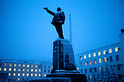 Lenin Square in the city of Yakutsk. Yakutsk (Russian: Яку́тск) is a city in the Russian Far East, located about 4° (450 kilometres) south of the Arctic Circle. It is the capital of the Sakha (Yakutia) Republic in Russia with a major port on the Lena River. The city has a population of 264.000 (2009). Yakutsk is one of the coldest cities on Earth. The average monthly winter temperature in January is around −43,2 °C. Yakutsk, Jakutsk, Yakutia, Russian Federation, Russia, RUS, 22.01.2010.