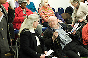 Age UK <br /> Mayor of London election Hustings meeting at Quakers' Friend's Meeting House, London, Great Britain <br /> 21st February 2012<br /> <br /> Subject of the meeting was &quot;Age UK London raises the voice and champions the needs of older Londoners&quot;. This was the first hustings in the 2012 London Mayoral election. <br />  <br /> <br /> Boris Johnson - Mayor of London <br /> Ken Livingstone - Labour candidate<br /> Brian Paddick - Lib Dem candidate <br /> and an audience made up of elderly Londoners.<br /> <br /> Photograph by Elliott Franks