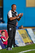 Gillingham FC manager Steve Lovell shouts during the EFL Sky Bet League 1 match between Gillingham and Coventry City at the MEMS Priestfield Stadium, Gillingham, England on 25 August 2018.