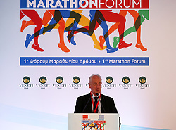MARATHON(GREECE), April 28, 2018  President of the Association of International Marathons and Distance Races Paco Borao speaks during the first Marathon Forum in Marathon, Greece, on April 27, 2018. The first Marathon Forum aiming to further promote the ''Marathon culture'' worldwide was held on Friday at the Municipality of Marathon where 2,500 years ago the Marathon race was born. (Credit Image: © Marios Lolos/Xinhua via ZUMA Wire)