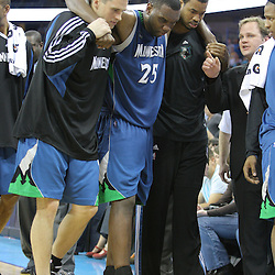 08 February 2009:  Minnesota Timberwolves center Al Jefferson (25) his helped off the court after injuring his knee late in the fourth quarter during a 101-97 win by the New Orleans Hornets over the Minnesota Timberwolves at the New Orleans Arena in New Orleans, LA.