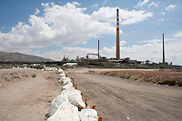 Boundry between Texas and Chihuahua, Mexico marked with stones at El Paso.