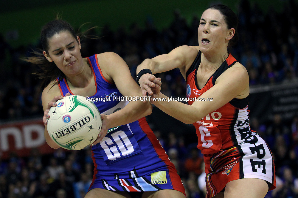 Mystics' Kayla Cullen competes for the ball against Tactix's Maree Bowden. ANZ Netball Championship, Northern Mystics v Canterbury Tactix, Trusts Stadium, Auckland, New Zealand. Sunday 27th May 2012. Photo: Anthony Au-Yeung / photosport.co.nz