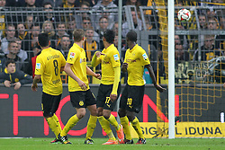 25.10.2014, Signal Iduna Park, Dortmund, GER, 1. FBL, Borussia Dortmund vs Hannover 96, 9. Runde, im Bild Hiroshi Kiyotake (Hannover 96 #28 - nicht im Bild) mit dem Fuehrungs Tor zum 1:0 mit vl: Ilkay Guendogan (Borussia Dortmund #8), Sven Bender (Borussia Dortmund #6), Pierre-Emerick Aubameyang (Borussia Dortmund #17) und Adrian Ramos (Borussia Dortmund #20) // during the German Bundesliga 9th round match between Borussia Dortmund and Hannover 96 at the Signal Iduna Park in Dortmund, Germany on 2014/10/25. EXPA Pictures © 2014, PhotoCredit: EXPA/ Eibner-Pressefoto/ Schueler<br /> <br /> *****ATTENTION - OUT of GER*****