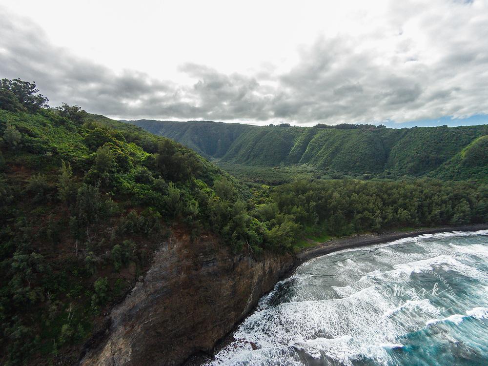 Aerial photograph of Pololu Beach & Valley, Big Island, Hawaii