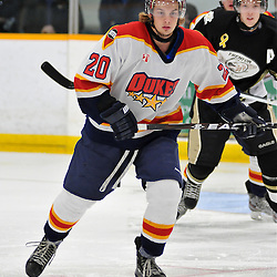 TRENTON, ON - Oct 26: Ontario Junior Hockey League game between Wellington Dukes and Trenton Golden Hawks. Kyle Paat #20 of the Wellington Dukes during first period game action..(Photo by Shawn Muir / OJHL Images)