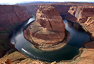 Horseshoe Bend on the Colorado River just below the Glen Canyon Dam and Lake Powell.