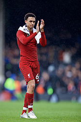 LONDON, ENGLAND - Sunday, March 17, 2019: Liverpool's Trent Alexander-Arnold applauds supporters after the FA Premier League match between Fulham FC and Liverpool FC at Craven Cottage. (Pic by David Rawcliffe/Propaganda)