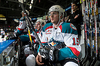 KELOWNA, CANADA - JANUARY 7: Tomas Soustal #15 of the Kelowna Rockets sits on the bench against the Kamloops Blazers on January 7, 2017 at Prospera Place in Kelowna, British Columbia, Canada.  (Photo by Marissa Baecker/Shoot the Breeze)  *** Local Caption ***