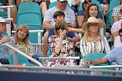 March 23, 2019 - Miami Gardens, Florida, United States Of America - MIAMI GARDENS, FLORIDA - MARCH 23:  Anna Wintour, Blaine Trump looks miserable in the bright light even with her shades on. Day 6 of the Miami Open Presented by Itau at Hard Rock Stadium on March 23, 2019 in Miami Gardens, Florida..People: Anna Wintour, Blaine Trump. (Credit Image: © SMG via ZUMA Wire)