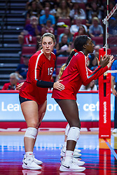 BLOOMINGTON, IL - September 14: Monica Miller and Emmy Ogogor during a college Women's volleyball match between the ISU Redbirds and the University of Central Florida (UCF) Knights on September 14 2019 at Illinois State University in Normal, IL. (Photo by Alan Look)