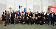 Anna Komorowska First Lady of Republic Poland poses to family photo during 30 years anniversary of The Special Olympics Poland at Presidential Palace in Warsaw on March 18, 2015.<br /> <br /> Poland, Warsaw, March 18, 2015<br /> <br /> For editorial use only. Any commercial or promotional use requires permission.<br /> <br /> Mandatory credit:<br /> Photo by © Adam Nurkiewicz / Mediasport
