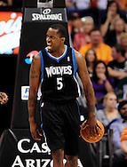 Apr. 11, 2011; Phoenix, AZ, USA; Minnesota Timberwolves guard Martell Webster (5) reacts on the court against the Phoenix Suns at the US Airways Center. The Suns defeated the Timberwolves 135 -127 in overtime. Mandatory Credit: Jennifer Stewart-US PRESSWIRE