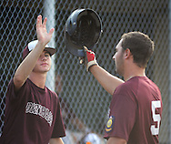 Falls  Vaughn Ward (left) congratulates teammate Justin Jacko #5 after he scored against Northampton in the 4th inning at Cairn University Tuesday July 14, 2015 in Langhorne, Pennsylvania.  (Photo by William Thomas Cain)