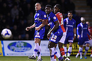 Gillingham defender Adam El-Abd and Gillingham defender Deji Oshilaja watch the ball go wide during the Sky Bet League 1 match between Gillingham and Walsall at the MEMS Priestfield Stadium, Gillingham, England on 12 April 2016. Photo by Martin Cole.