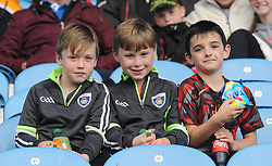 Young Kilmeena fans Sean Keane, Jamie Durcan and Kyle Mulchrone at the junior semi-final at McHale park on saturday evening.<br />Pic Conor McKeown