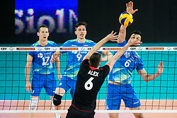 Alexandre Ferreira of Portugal  vs Mitja Gasparini of Slovenia during volleyball match between National teams of Slovenia and Portugal in 2nd Round of 2018 FIVB Volleyball Men's World Championship qualification, on May 26, 2017 in Arena Stozice, Ljubljana, Slovenia. Photo by Vid Ponikvar / Sportida